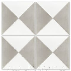 """Tugboat Featherstone and White"" Basic Geometric Cement Tile, from Villa Lagoon Tile."