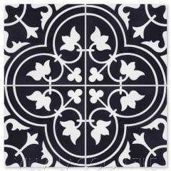 """Tulips B Black & White Evening"" Traditional Floral cement tile, from Villa Lagoon Tile."
