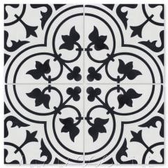 """Tulips B Black & White Morning"" Traditional Floral cement tile, from Villa Lagoon Tile."