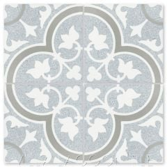 """""""Tulips B Misty Terrazzo"""" Traditional Floral cement tile, from Villa Lagoon Tile."""