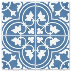 """Tulips B Royal"" Traditional Floral cement tile, from Villa Lagoon Tile."