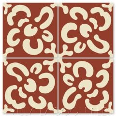 """Wallflower Whipped Cream & Beacon Hill"" Whimsical Floral Cement Tile by Jeff Shelton, from Villa Lagoon Tile."