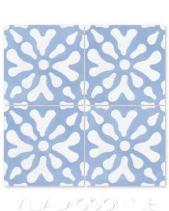 """Ablitt Flower Periwinkle & White"" Whimsical Floral Cement Tile by Jeff Shelton, from Villa Lagoon Tile."