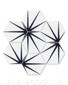 """Alley Black & White Morning"" Geometric Hex Cement Tile, from Villa Lagoon Tile."