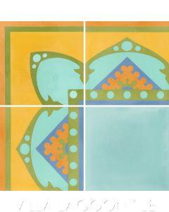 """Amalena Sunset"" Border Cuban Cement Tile, by Villa Lagoon Tile."