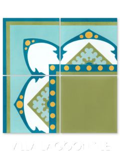 """Amalena Meadow"" Border Cuban Cement Tile, by Villa Lagoon Tile."