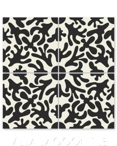 """""""Annie's Flower Black on Sand Dollar"""" Whimsical Floral Cement Tile by Jeff Shelton, from Villa Lagoon Tile."""