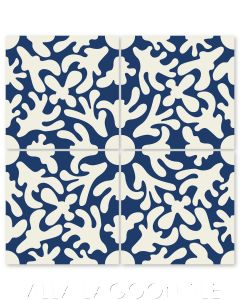 """""""Annie's Flower on Admiral"""" Whimsical Floral Cement Tile by Jeff Shelton, from Villa Lagoon Tile."""