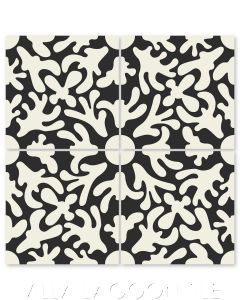 """""""Annie's Flower Sand Dollar on Black"""" Whimsical Floral Cement Tile by Jeff Shelton, from Villa Lagoon Tile."""