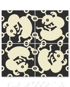 """""""Ants in Alabaster"""" Whimsical Wildlife Cement Tile by Jeff Shelton, from Villa Lagoon Tile."""