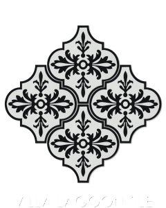 """Porto Black & White"" Arabesque Classic Cement Tile, from Villa Lagoon Tile."