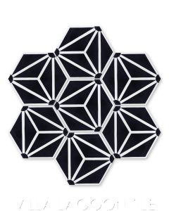 """Atlas A Black and White"" Geometric Hex Cement Tile, from Villa Lagoon Tile."