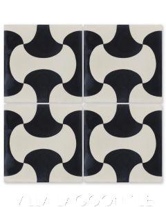 """Bells Black and Seashell White"" Geometric Cement Tile, by Villa Lagoon Tile."