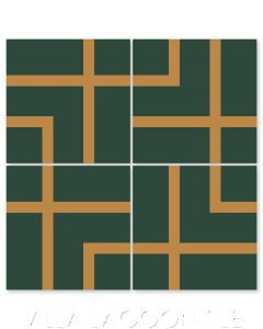 """Boxed Set Ponderosa Mustard"" Modern Geometric Cement Tile by Neyland Design, from Villa Lagoon Tile."