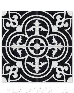 """Caprice Black & White Evening"" Spanish Cement Tile, by Villa Lagoon Tile."