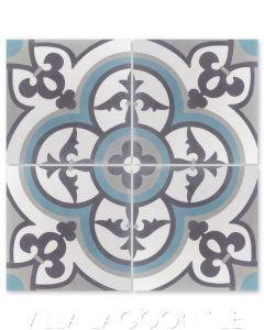 """Caprice Celeste"" Spanish Cement Tile, by Villa Lagoon Tile."