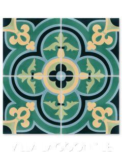 """Caprice Grove"" Bold Spanish Cement Tile, by Villa Lagoon Tile."