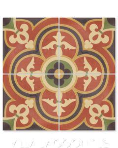 """Caprice Spice"" Bold Spanish Cement Tile, by Villa Lagoon Tile."