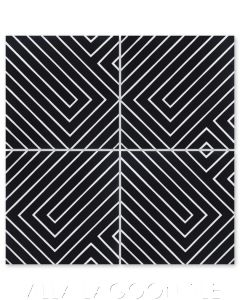 """Circuitry Black & White Evening"" Modern Geometric Cement Tile by Neyland Design, from Villa Lagoon Tile."