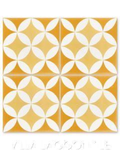 """Circulos A Maple Sugar"" Geometric Cement Tile, from Villa Lagoon Tile."