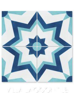 """""""Comino A Deep Bimini"""" Moroccan Cement Tile, from Villa Lagoon Tile."""
