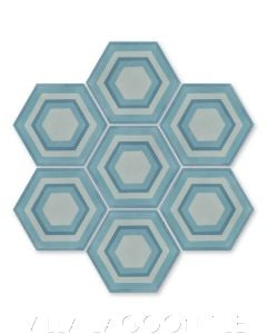 """""""Concentric Hex D"""" Ringed Cement Tile, by Villa Lagoon Tile."""