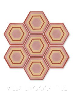 """""""Concentric Hex F"""" Ringed Cement Tile, by Villa Lagoon Tile."""