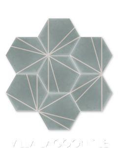 """Crow's Feet Lexington"" Modern Hex Cement Tile, from Villa Lagoon Tile."