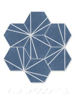 """""""Crow's Feet Washed Denim"""" Modern Hex Cement Tile, from Villa Lagoon Tile."""