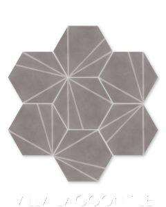 """Crow's Feet Gray"" Modern Hex Cement Tile, from Villa Lagoon Tile."