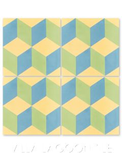 """Cubes A Candy"" Geometric Cement Tile, from Villa Lagoon Tile."