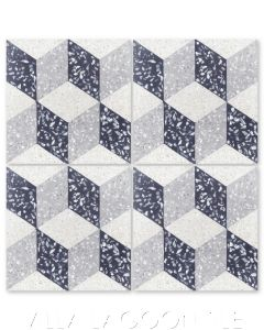 """""""Cubes A Mother of Pearl Terrazzo"""" Geometric Cement Tile, from Villa Lagoon Tile."""