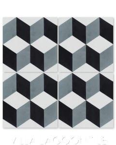 """Cubes A Mountain"" Geometric Cement Tile, from Villa Lagoon Tile."