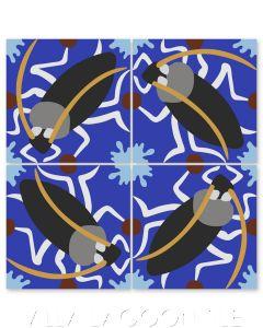 """Cucaracha on Ultramarine"" Whimsical Wildlife Cement Tile by Jeff Shelton, from Villa Lagoon Tile."