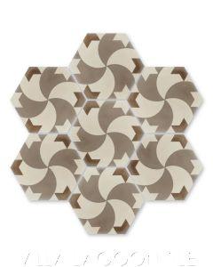 """""""Damascus Hex Desert"""" Geometric Hex Cement Tile, from Villa Lagoon Tile."""