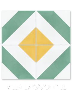 """Diagonal Four A Citrus"" Striped Cement Tile, from Villa Lagoon Tile."