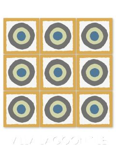 """East Beach Circle Maple Sugar"" Modern Whimsical Cement Tile by Jeff Shelton, from Villa Lagoon Tile."