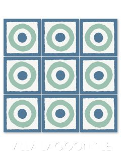 """East Beach Circle Royal Blue"" Modern Whimsical Cement Tile by Jeff Shelton, from Villa Lagoon Tile."