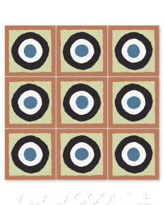 """East Beach Circle Terracotta"" Modern Whimsical Cement Tile by Jeff Shelton, from Villa Lagoon Tile."