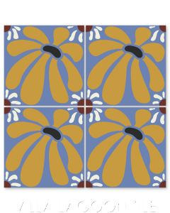 """""""Echinacea in Black and Maple Sugar"""" Whimsical Floral Cement Tile by Jeff Shelton, from Villa Lagoon Tile."""
