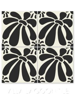 """""""Echinacea in Black"""" Whimsical Floral Cement Tile by Jeff Shelton, from Villa Lagoon Tile."""