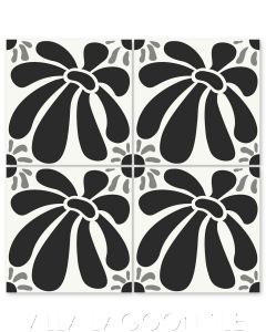 """""""Echinacea Sencillo"""" Whimsical Floral Cement Tile by Jeff Shelton, from Villa Lagoon Tile."""