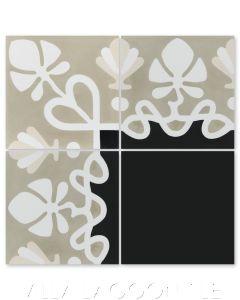 """""""Foliage Border Antique"""" Floral Cement Tile Border, by Villa Lagoon Tile."""