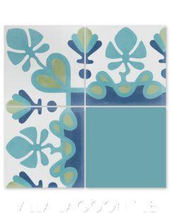 """Foliage Border Aqua"" Floral Cement Tile Border, by Villa Lagoon Tile."