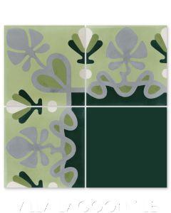 """Foliage Border Lichen"" Floral Cement Tile Border, by Villa Lagoon Tile."
