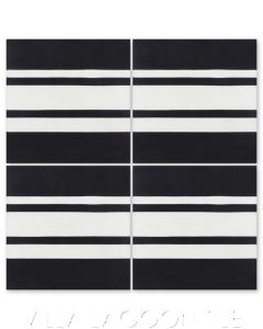 """Francis Stripe Border Edge Black & White Evening"" Geometric Cement Tile, from Villa Lagoon Tile."