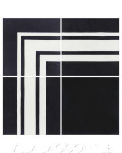 """Francis Stripe Border Black & White Evening"" Geometric Cement Tile, from Villa Lagoon Tile."