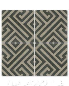 """Fretwork Primero"" Geometric Cement Tile, by Villa Lagoon Tile."