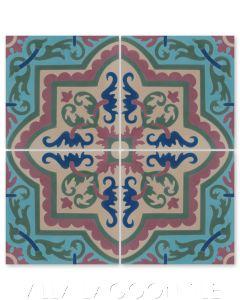 """Habanero Autentico"" Cuban Floral Cement Tile, from Villa Lagoon Tile."