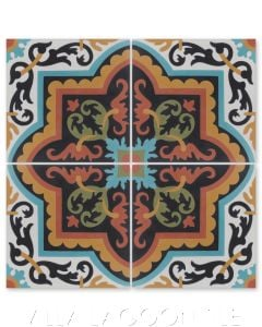 """Habanero Vivo"" Cuban Floral Cement Tile, from Villa Lagoon Tile."